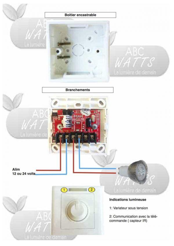 Variateur dimmable pour LED de 12volts avec télécommande